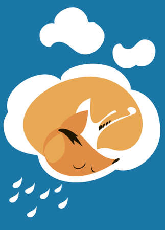 Little red fox sleeping peacefully on a white cloud Stock Vector - 17814746