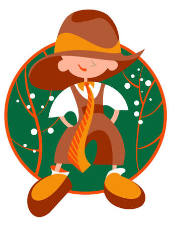 Boy dressed in vintage clothing fifties Vector
