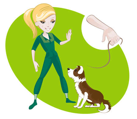 teaches: Young blonde girl teaches puppy commands