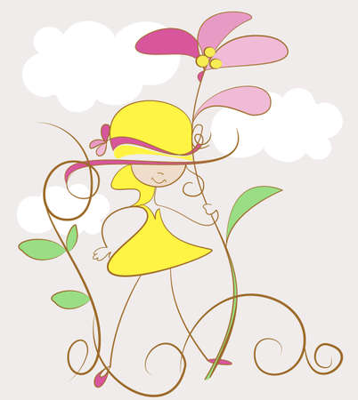Funny girl in her mothers hat and shoes Illustration
