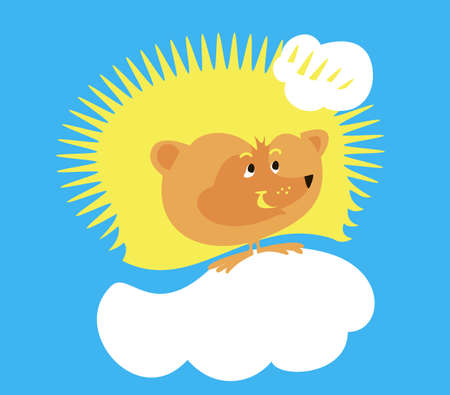 Funny hedgehog - the sun walking on a cloud Vector