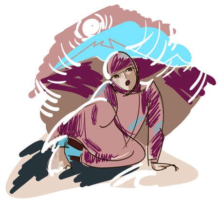 산의 경치의 배경에 국가 드레스 십대 - 아프간 소녀의 스케치