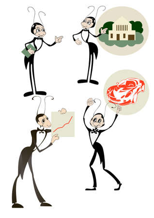 Four images of an ant - manager who is a symbol of real estate agencies Vettoriali