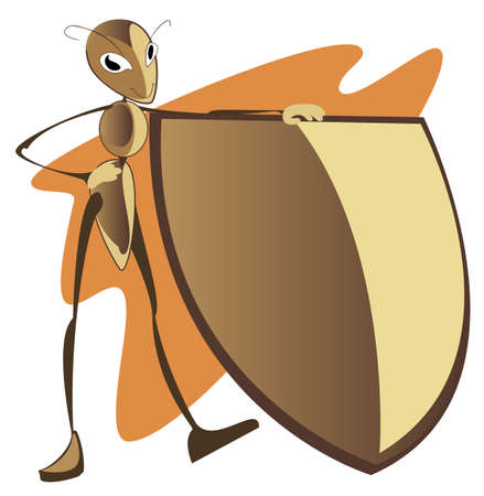 The comic image of ant with a shield Stock Vector - 19097211