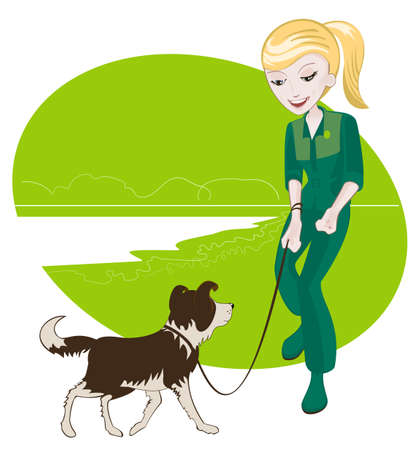 dog walking: Girl walking with a dog on the lake Illustration