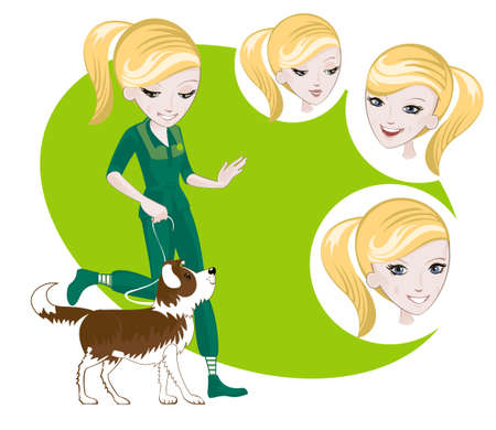 trusting: Several interchangeable items for illustration on dog training Illustration