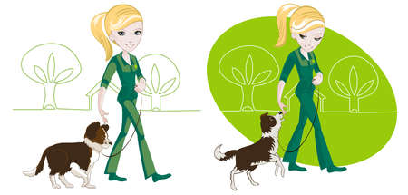 Two illustrations on the subject of dog training: the girl is his dog on a leash Vector