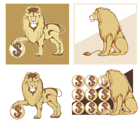 Set of vector symbols of reliability and wealth - the mighty lions in different postures