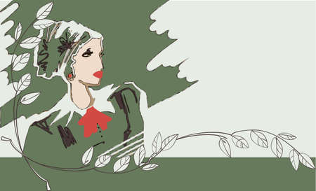 A young woman in vintage dress on a green background Illustration