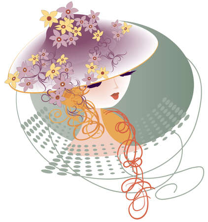 Young lady in a hat decorated with flowers girlyanodoy Illustration