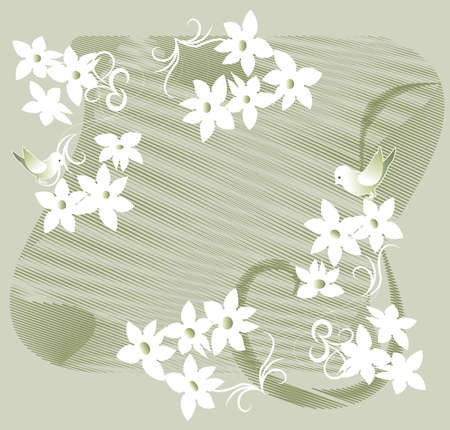 Garland of white flowers and birds silhouettes on a green background Stock Vector - 19938899