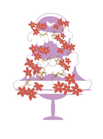 wedding cake, decorated with a garland of red flowers Vector