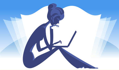 Silhouette of a seated girl with a laptop on the background of an open book Vector