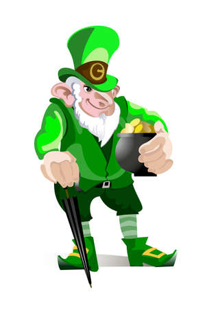 Cheerful leprechaun with a pot of gold in his hands on an isolated background
