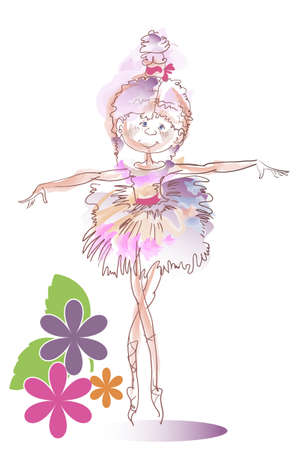 Funny image of a little ballerina in a pink dress Illustration