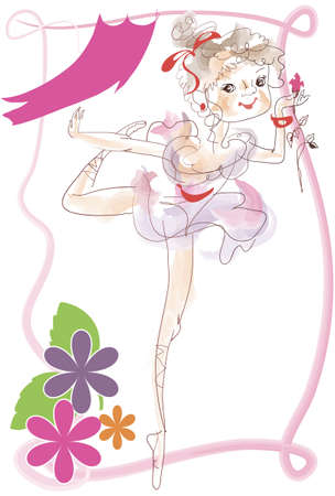 Little ballerina dancing on stage with a flower in her hand Vector