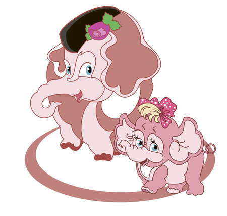 Mom - elephant and little cute daughter - a baby elephant Vector