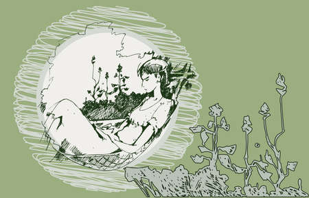 读一本书的一个年轻女孩的剪影在吊床夏日