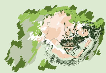 sketch of a young girl who is reading a book in a hammock summer day Vector