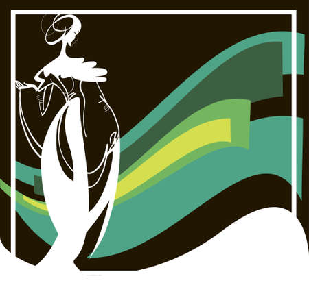 dressups:  White  silhouette of female in a retro suit on a dark abstract background