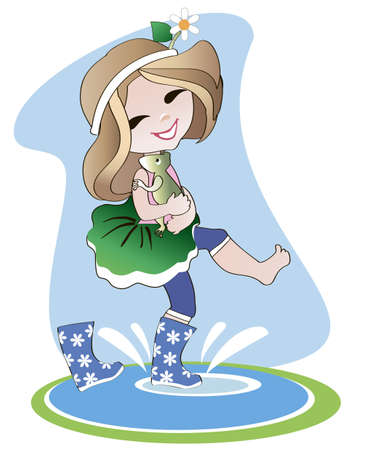 little girl in rubber boots holding a toad on her hands and goes through puddles under the  rain