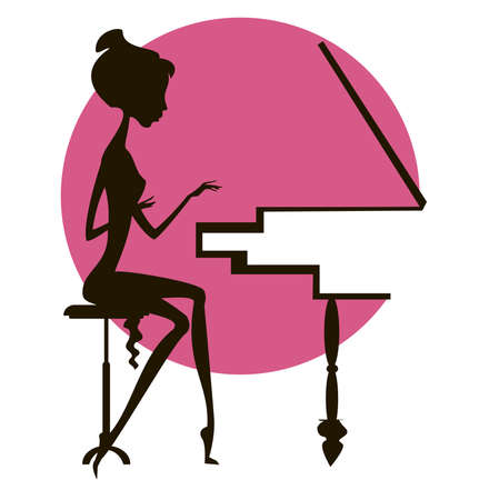 Dark silhouette of the girl playing the piano, against a red circle Illustration