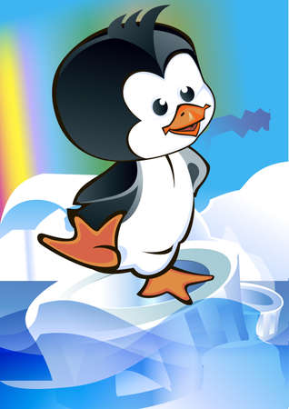 Cartoon kid - penguin ice floe floating on a transparent background on the aurora