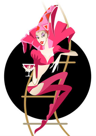 Graceful girl - the clown sitting on a trapeze and holding a glass in her hand Vector