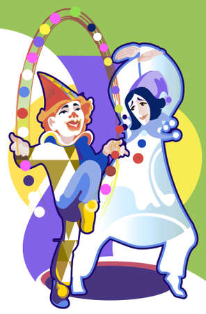 pierrot: Two clowns in costume of Harlequin and Pierrot juggling balls in the circus
