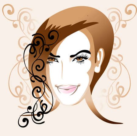 Illustration portrait of young elegant woman with warm colors