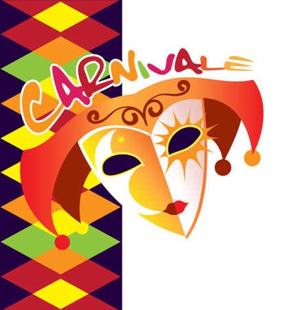 Bright Venetian mask depicted in the poster kanavalnom Illustration