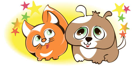 Cartoon characters kitten and puppy among the stars
