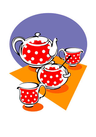 Porcelain tea service red with white polka dots Vector