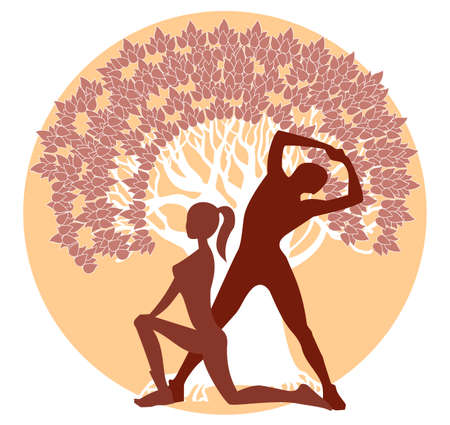 silhouettes of men and women in athletic poses on a tree silhouette Vector