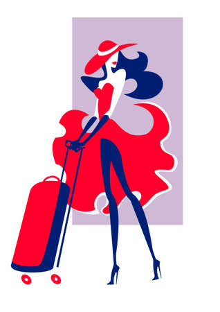 Traveling girl in a red dress and wide-brimmed hat Illustration