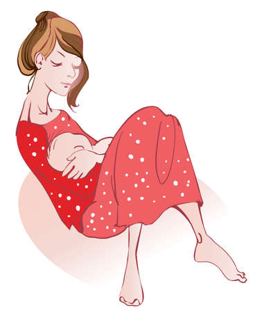 Young woman in a red dress holding  her tiny son Illustration