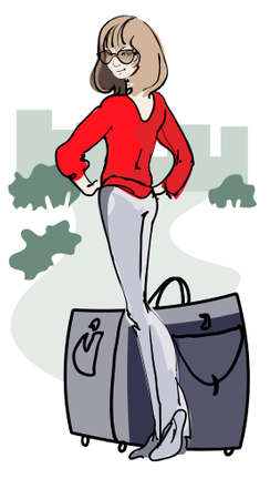 Traveling girl standing by the road with her luggage Vector
