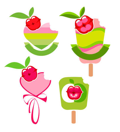 Four stylized vector of the icons fruit sorbets