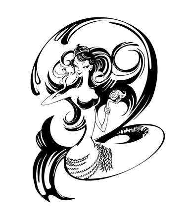 black-and-white image of a young mermaid Illustration