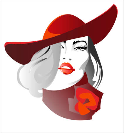 Portrait of a beautiful young woman in a red hat Vector