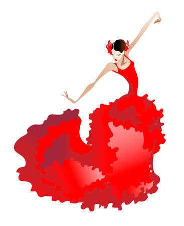 Young woman in a red dress dancing flamenco