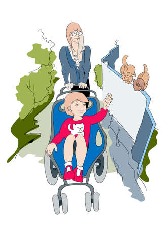 Young woman taken out for a walk in the stroller baby son Illustration