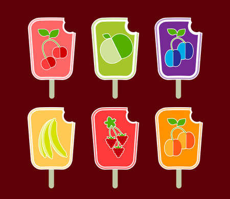 Six stylized vector of the icons fruit sorbets