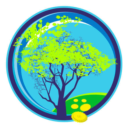 Vector icon of the tree, covered with young spring foliage