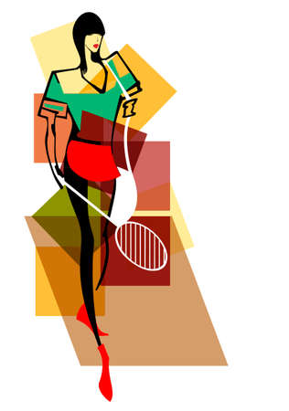 Vector bright young tennis player with racket and sports bag in her hands Illustration