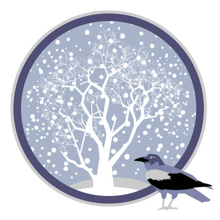 Vector winter landscape, white wood, snow and crows
