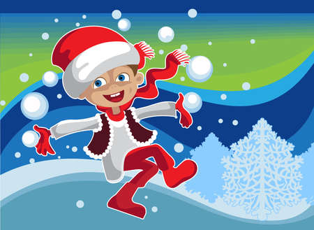 Funny boy in a Christmas suit playing  snowballs Illustration
