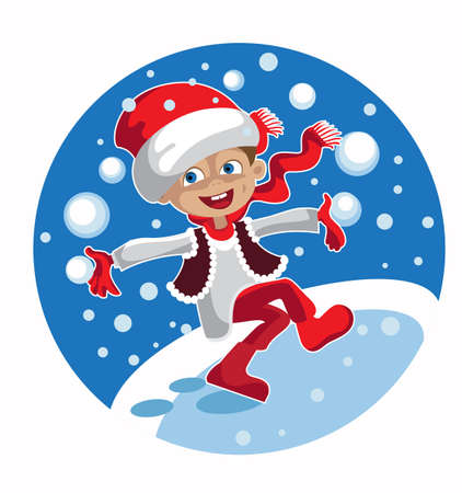 palle di neve: Ragazzo allegro in Natale palle di neve vestiti di gioco