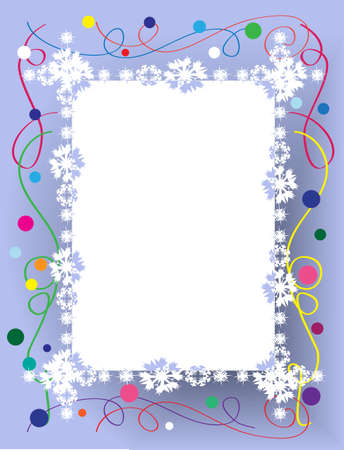 Christmas frame with snowflakes  on background