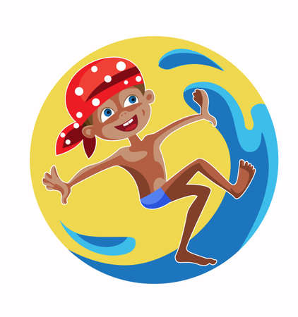 cheerful boy jumps in the warm waves on a  yellow background Illustration